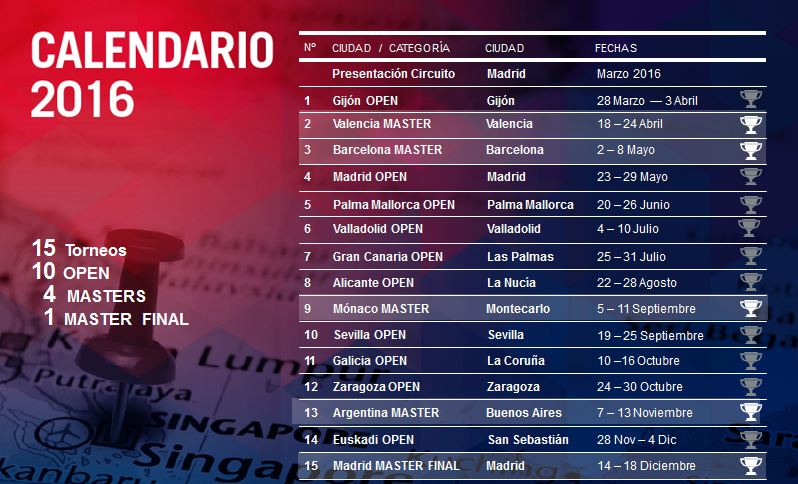 Sedes y fechas del calendario World Padel Tour 2016