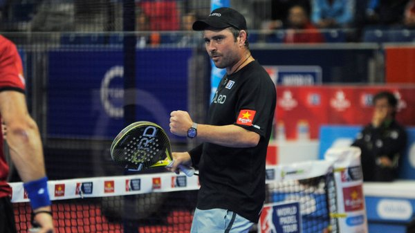 Jordi Muñoz celebrando un punto durante el partido de hoy