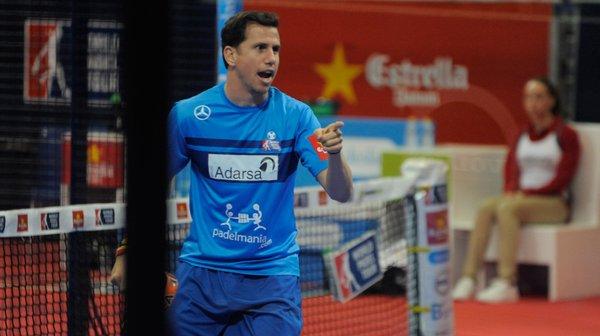 Paquito Navarro celebrando un punto del partido de hoy