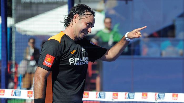 Godo Díaz celebra un punto en su partido de dieciseisavos
