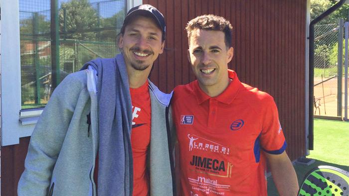Zlatan Ibrahimovic estuvo presente en la exhibición y en el clinic de pádel celebrado en Salk