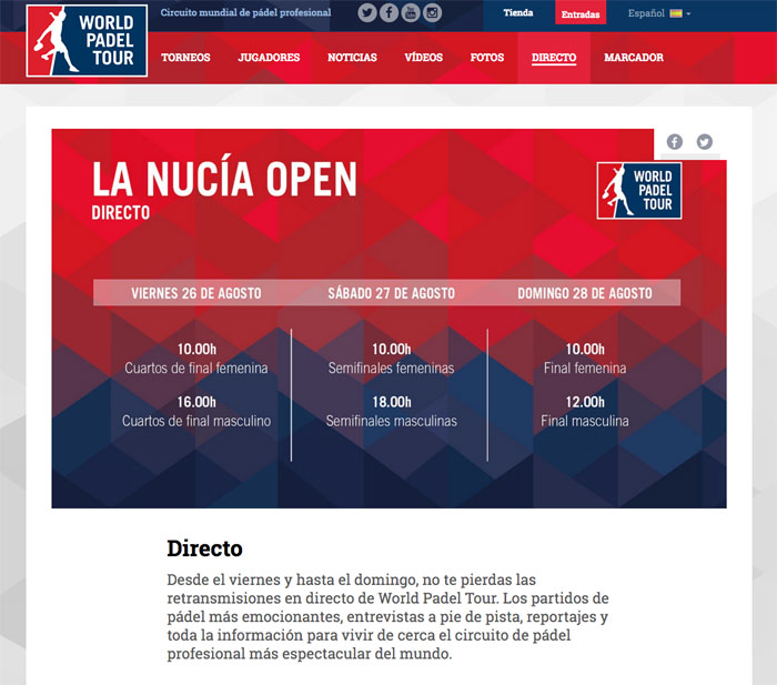 Captura de la web del World Padel Tour sobre el horario del streaming en La Nucía