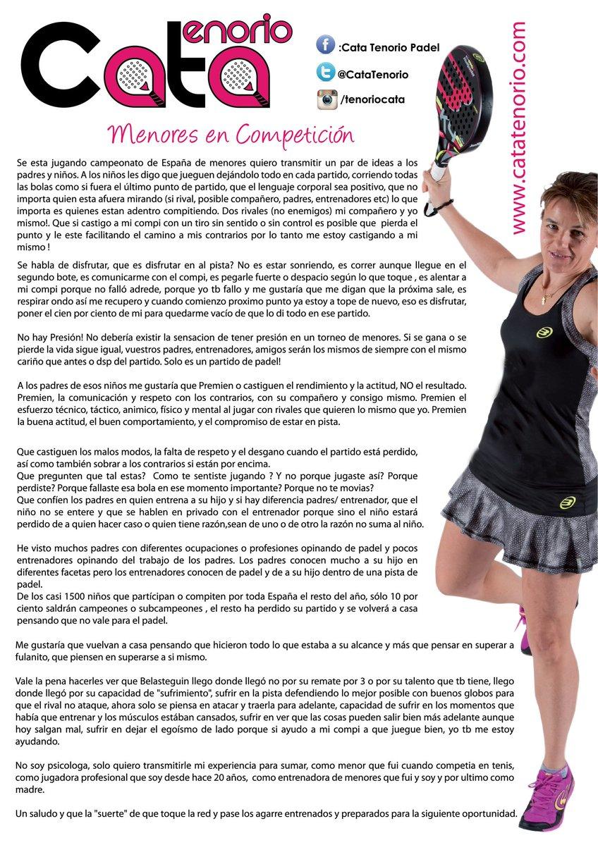 Comunicado de Cata Tenorio sobre la competición de menores