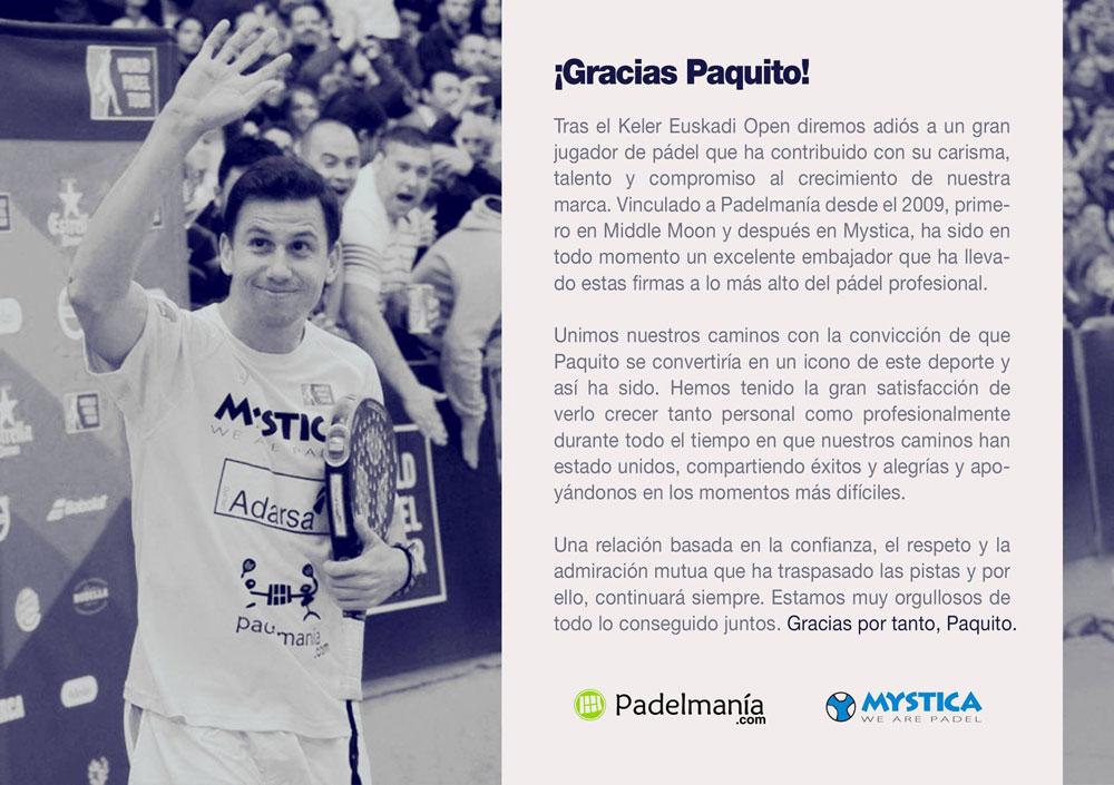 Comunicado de Mystica y Padelmania sobre el adiós de Paquito Navarro