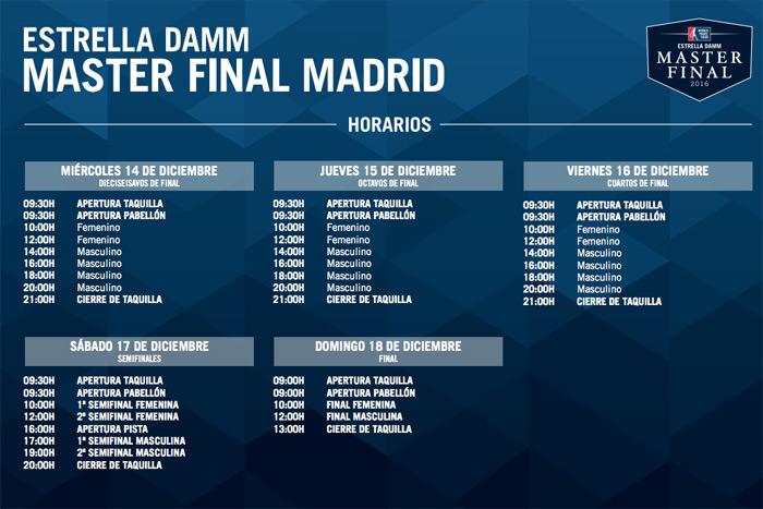 Horarios del Estrella Damm Master Final