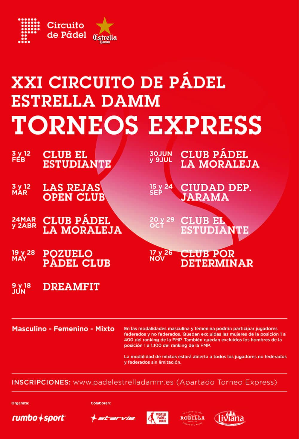 Cartel XXI Circuito de Pádel Estrella Damm Torneos Express