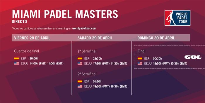 Desde la ronda de cuartos podremos ver los encuentros del Miami Padel Masters