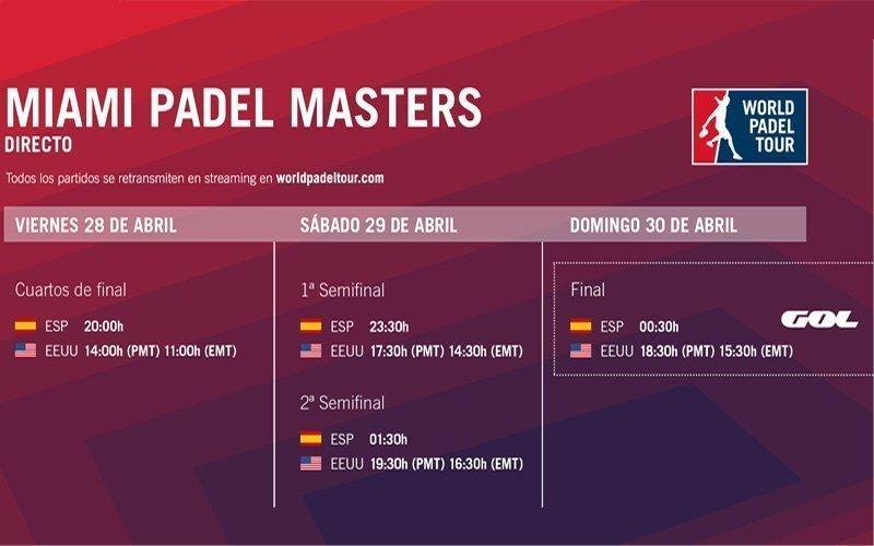 Conoce los horarios del streaming del Miami Padel Masters