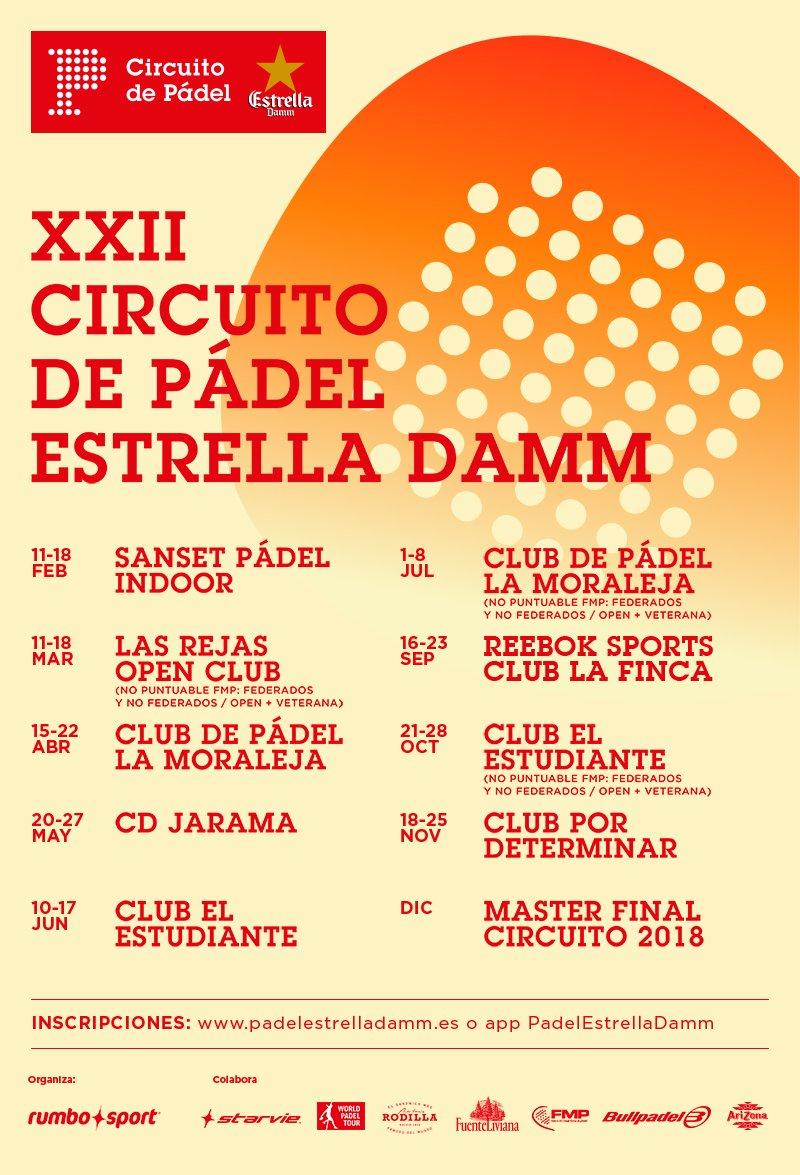 Calendario XXII Circuito de Pádel Estrella Damm