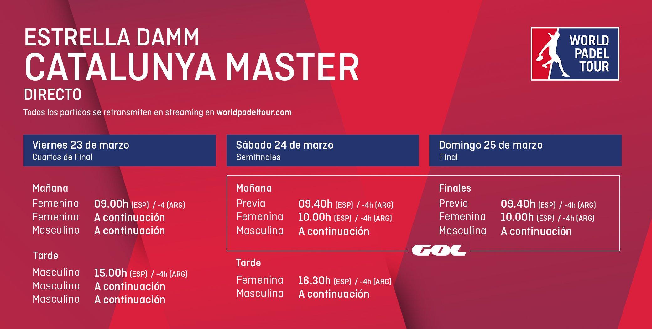 Horarios del streaming del Estrella Damm Catalunya Master.