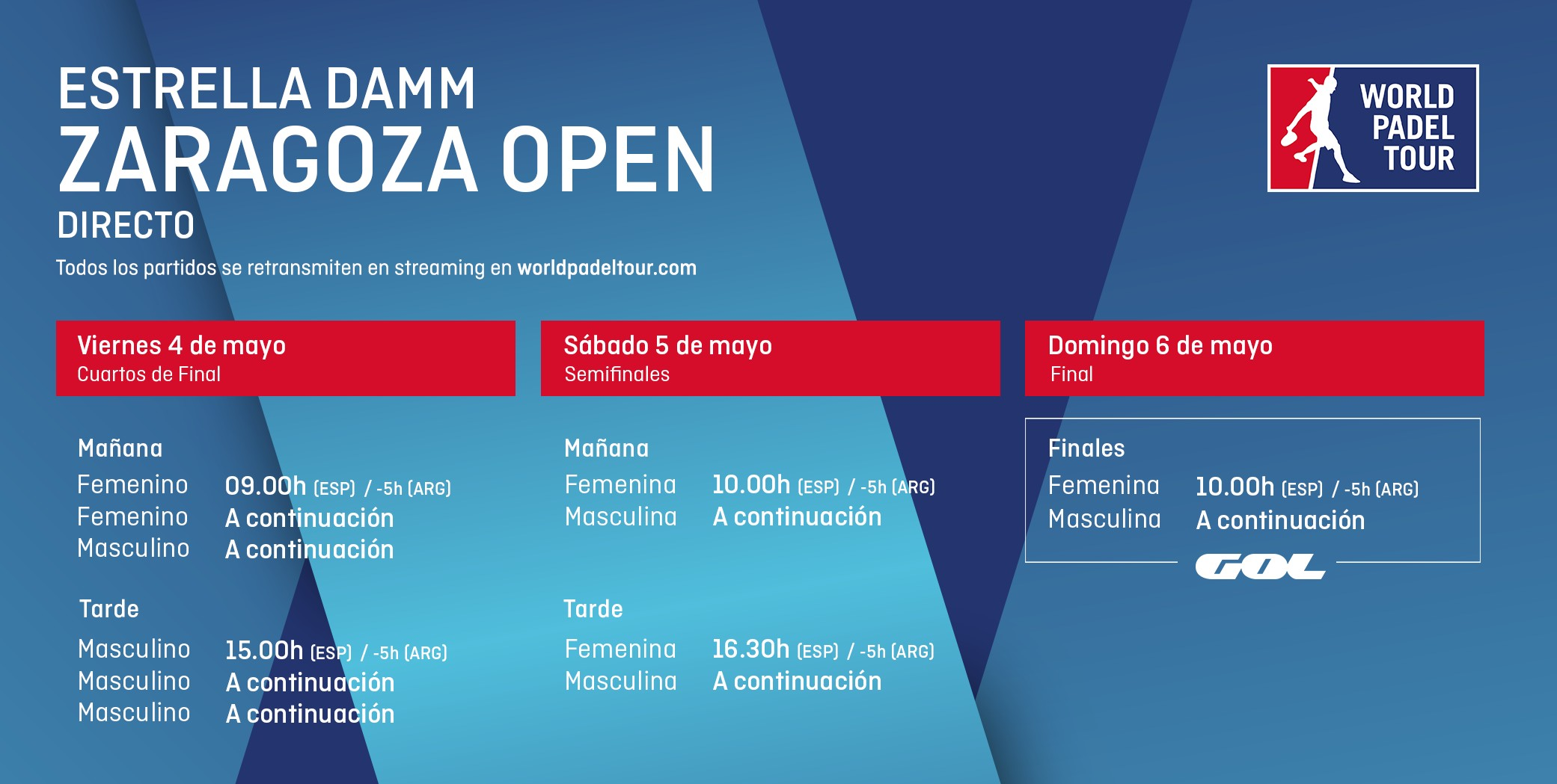 Horarios del streaming del Zaragoza Open