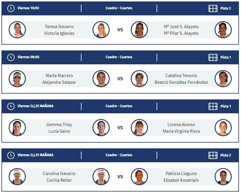 Horarios de los cuartos de final femeninos del Jaén Open