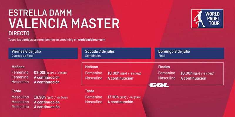 Horarios del streaming del Valencia Master