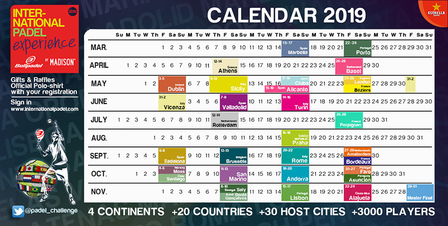 Calendario del International Padel Experience 2019