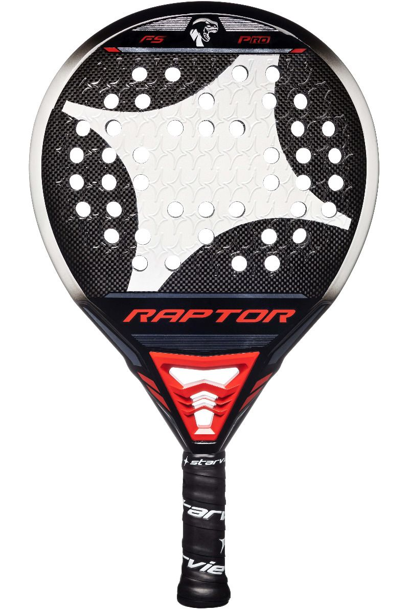 En el diseño de la pala StarVie Raptor Pro predomina el negro, blanco y rojo