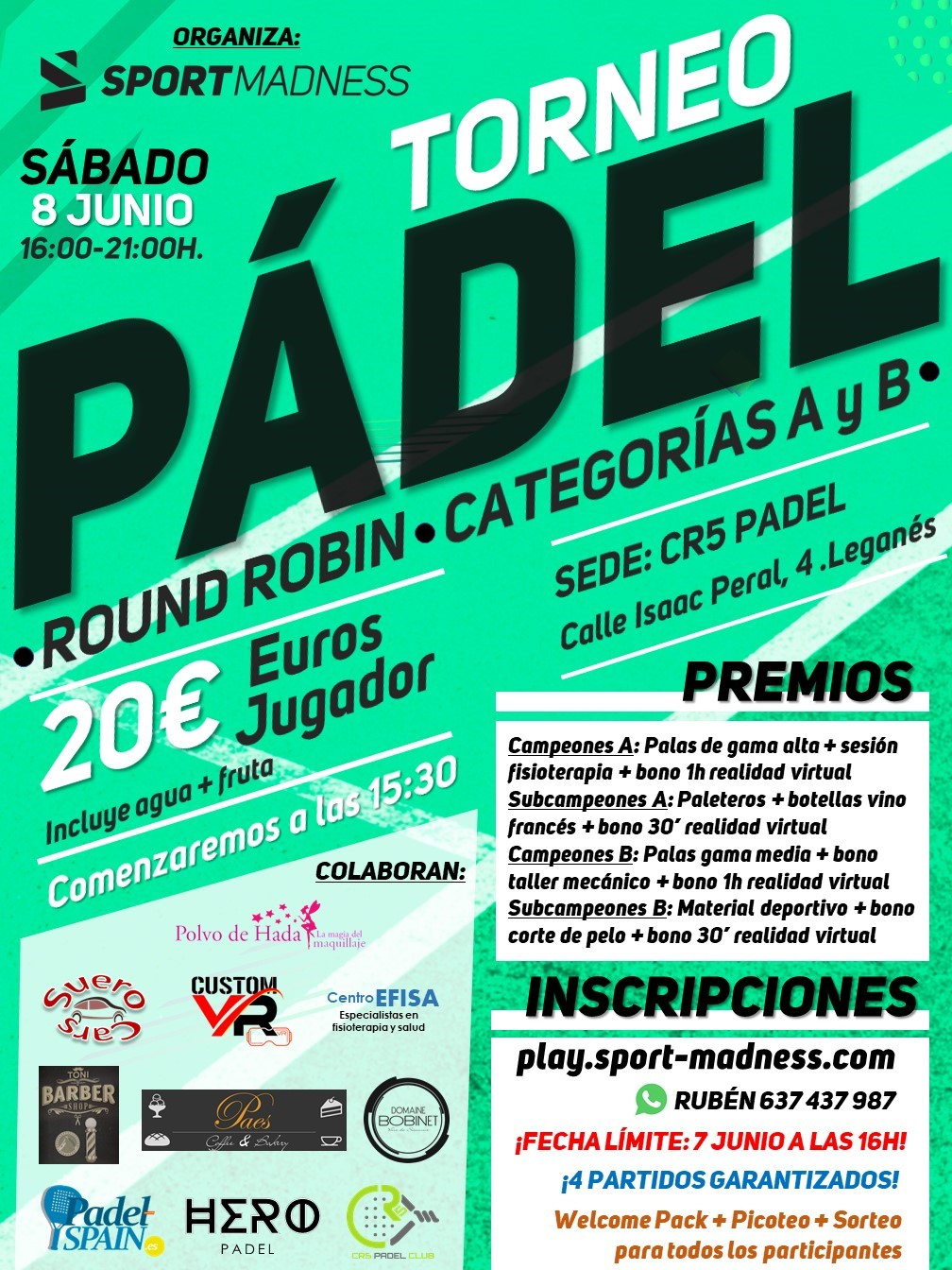 Torneo Express Sportmadness en CR5 Pádel este 8 de junio