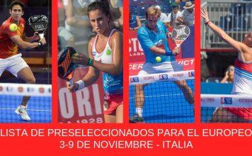Lista de jugadores españoles preseleccionados para el Europeo de Pádel 2019