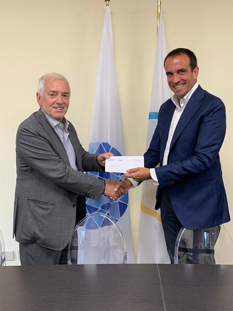 El Secretario General del Comité Olímpico Europeo, Raffaele Pagnozzi, y el presidente de la Federación Internacional de Pádel, Luigi Carraro