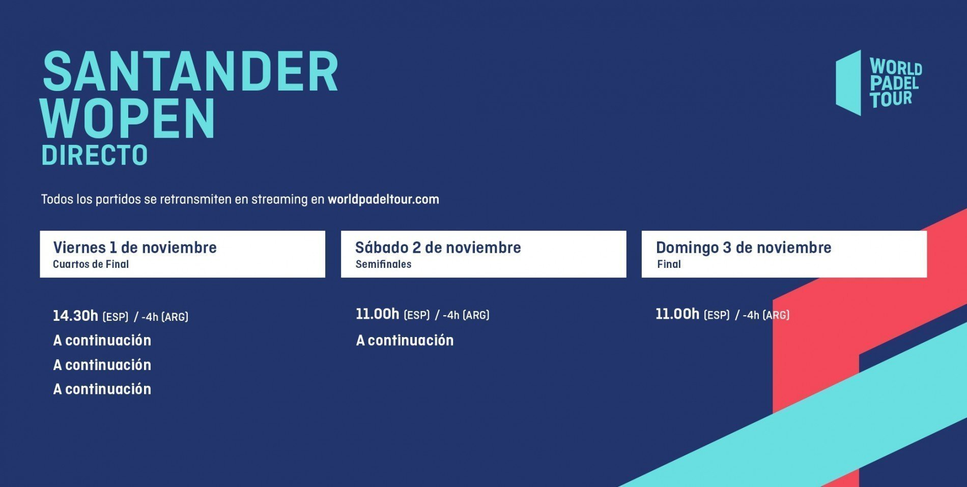 Horarios del streaming del Santander WOpen