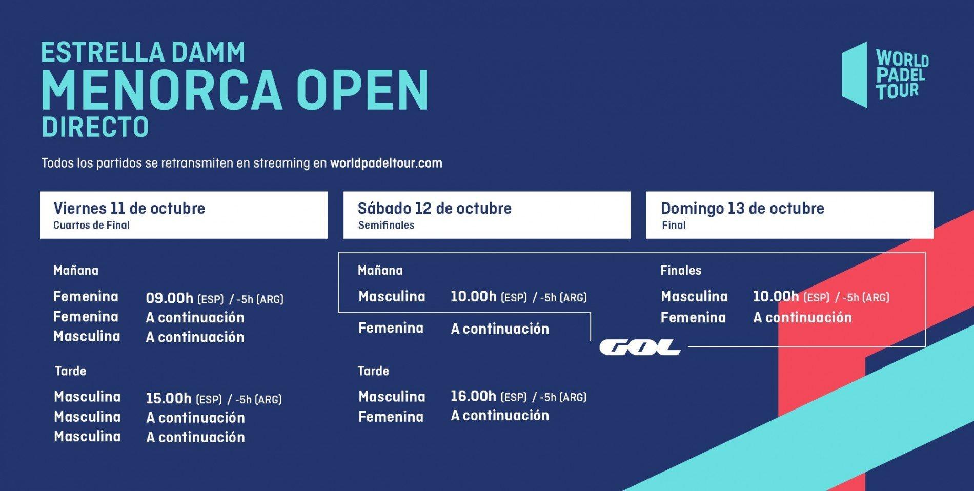 Horarios del streaming del Menorca Open