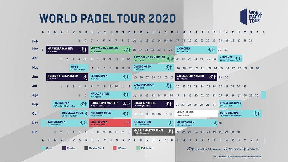 resumido el calendario World Padel Tour 2020
