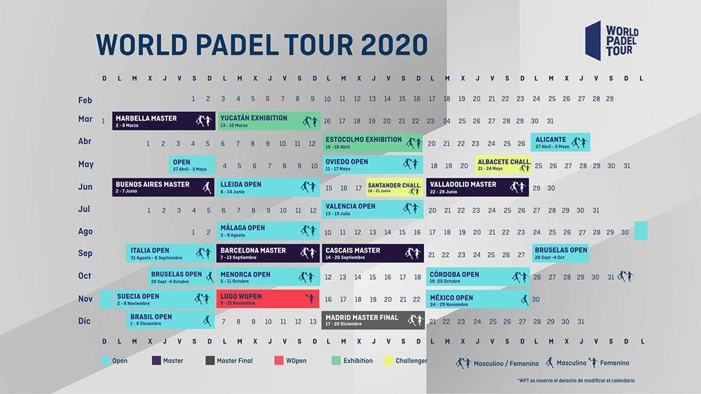 Así queda el calendario World Padel Tour 2020