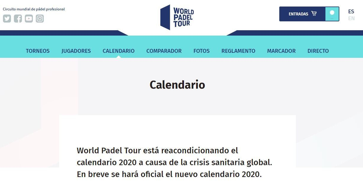 Página actual del calendario del World Padel Tour
