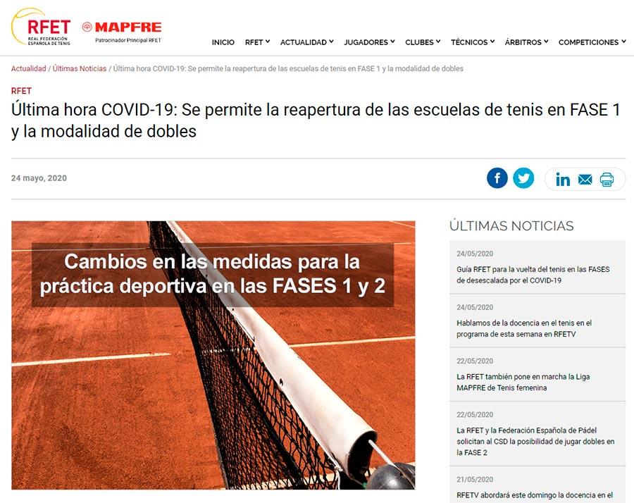 Comunicado de la Real Federación Española de Tenis este domingo 24 de mayo