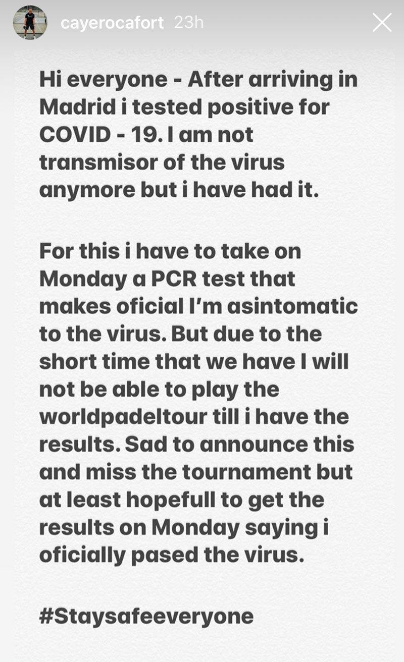 Caye Rocafort también confirmaba su positivo por Coronavirus