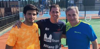 Carlos Sainz and Carlos Sainz Jr share the track with Paquito Navarro to play a game