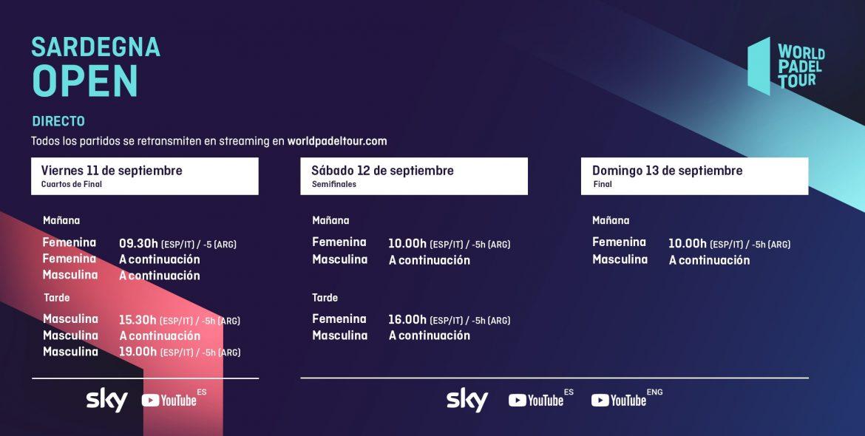 Horarios del streaming del Sardegna Open