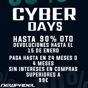 ¡Cyber Days! Hasta 90% de descuento con devoluciones hasta el 15 de enero. En www.newpadel.net.