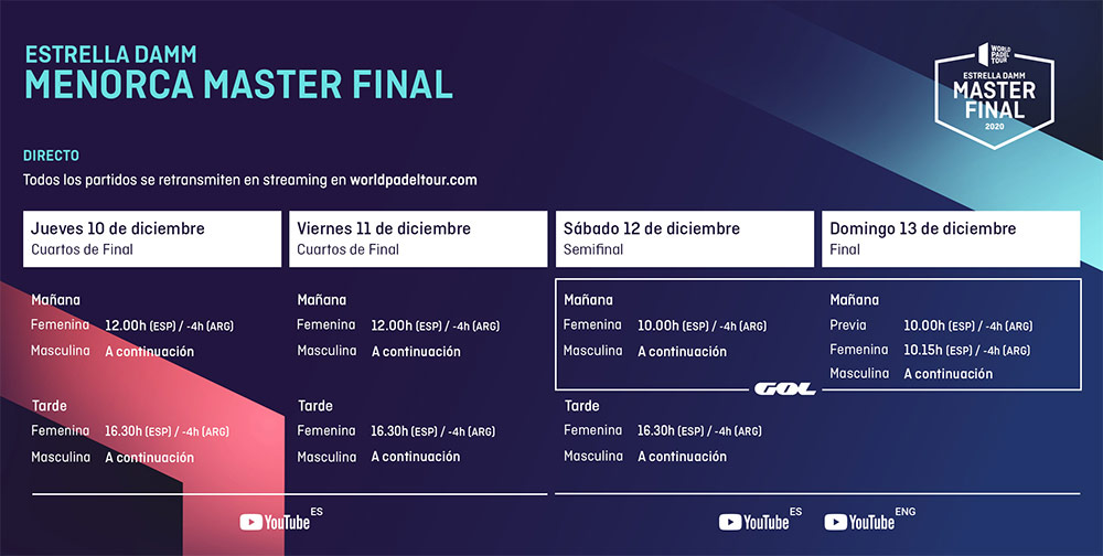 Horarios del streaming del Estrella Damm Menorca Master Final