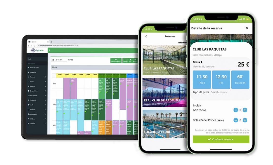 La vinculación PadelManager-Bsystem hace las labores de reservas de pistas desde la App, las cuales se plasman automáticamente en la planilla de reservas