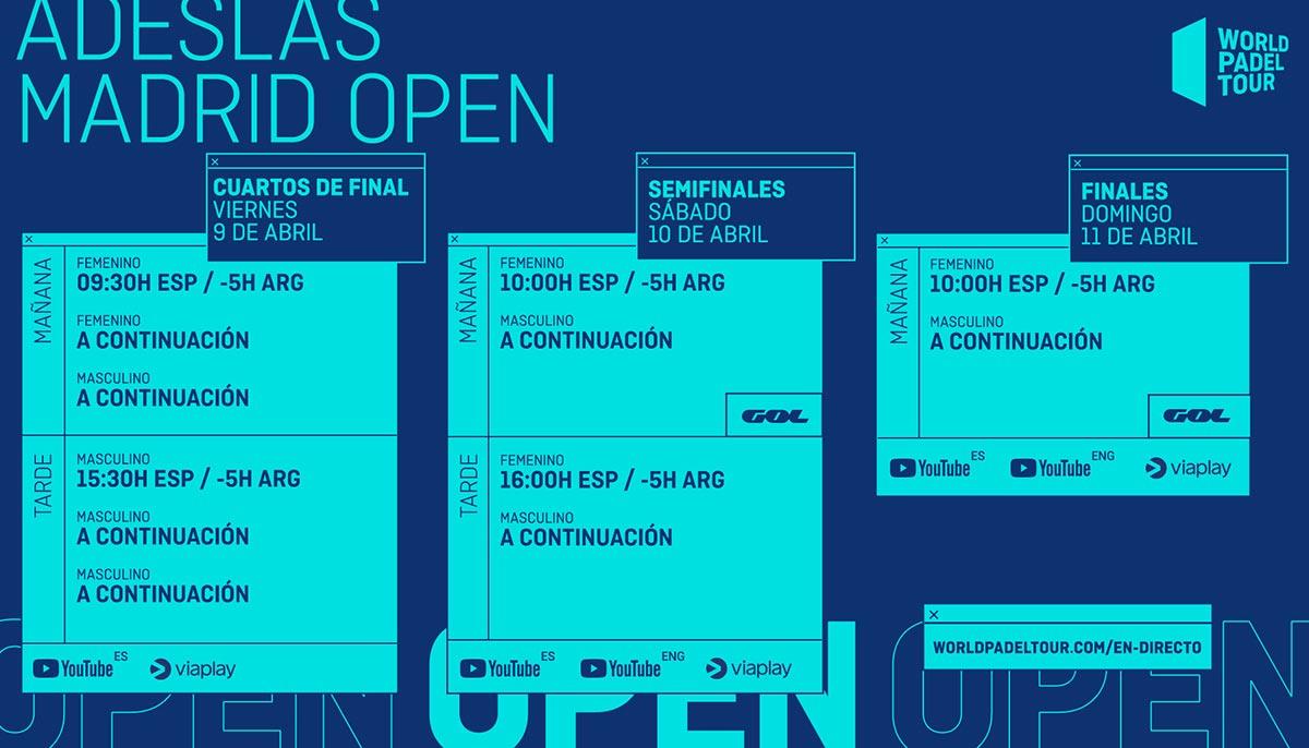 Estos son los horarios del streaming del Adeslas Madrid Open 2021