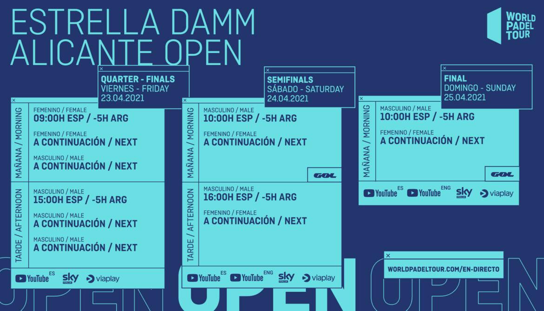 Guia televisiva del Alicante Open 2021: horarios y retransmisiones