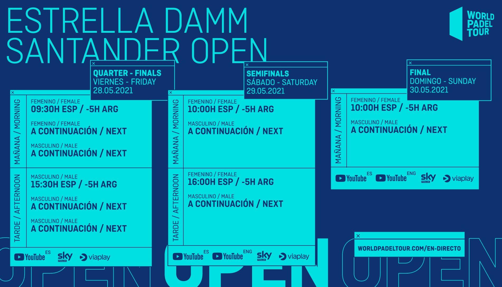 Horarios del streaming del Santander Open 2021