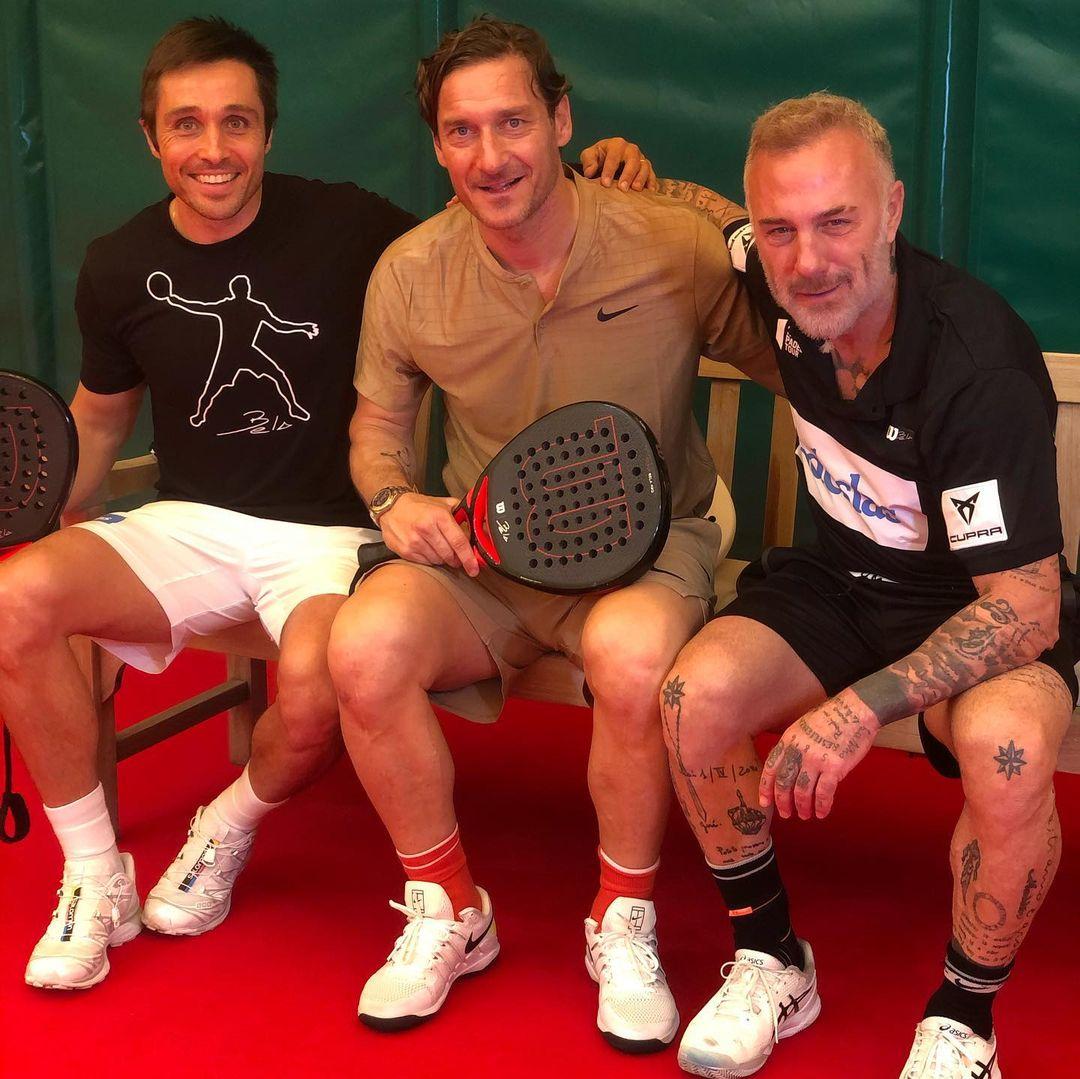 Fernando Belasteguín junto al ex-futbolista Francesco Totti y el empresario Gianluca Vacchi