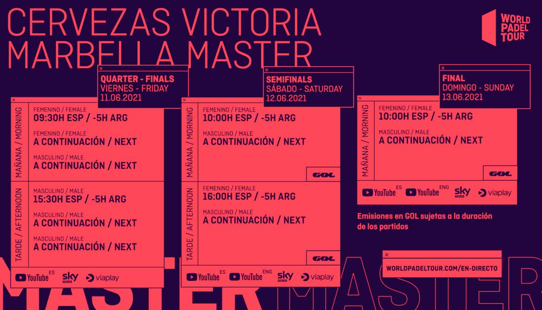 Guía televisiva del Cervezas Victoria Marbella Master 2021: retransmisiones y horarios