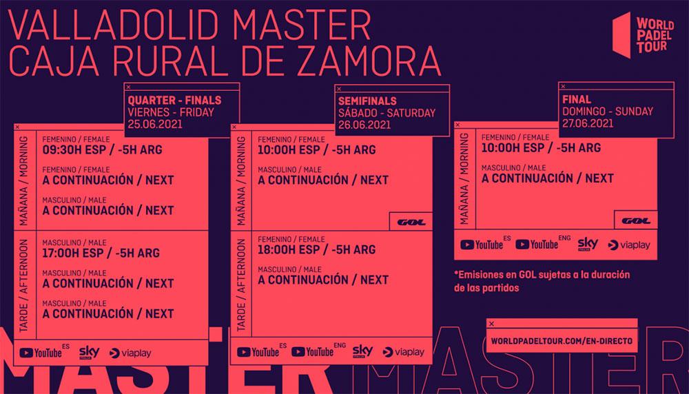Horarios del streaming del Valladolid Master 2021